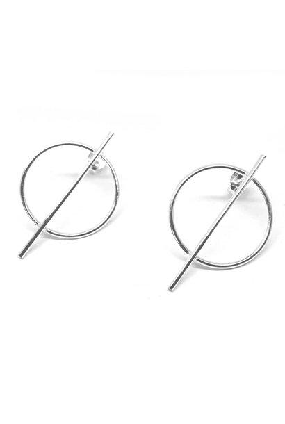 Zilveren cirkel staaf oorstekers