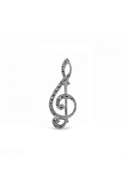 Zilveren broche vioolsleutel markasiet