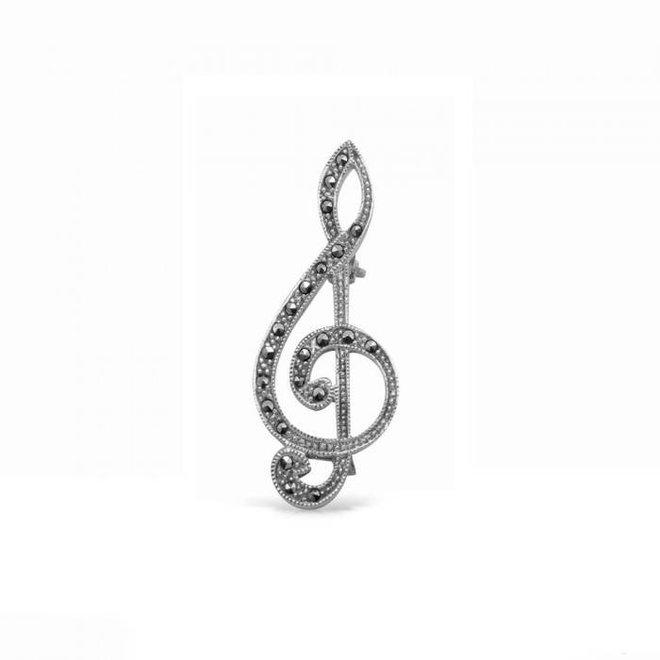 Zilveren broche vioolsleutel bezet met markasiet