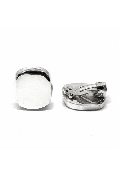 Zilveren clip-on rechthoek oorbellen
