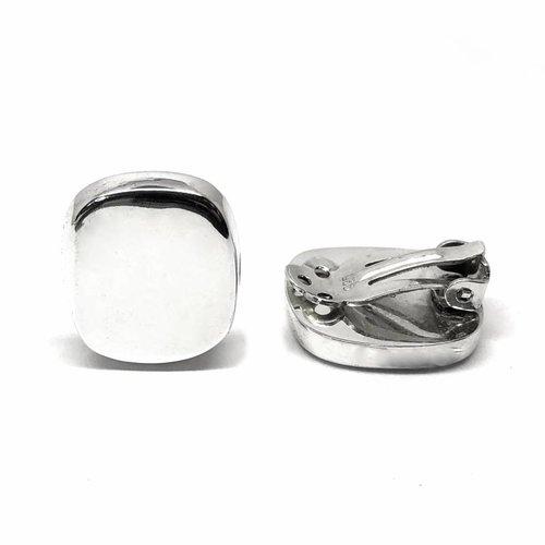 ZilverVoorJou Zilveren clip-on rechthoek oorbellen
