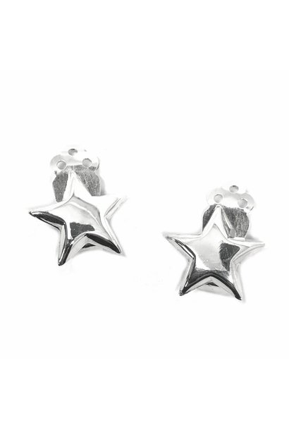 Zilveren clip-on ster oorbellen