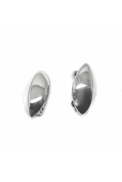 Zilveren clip-on ovale oorbellen