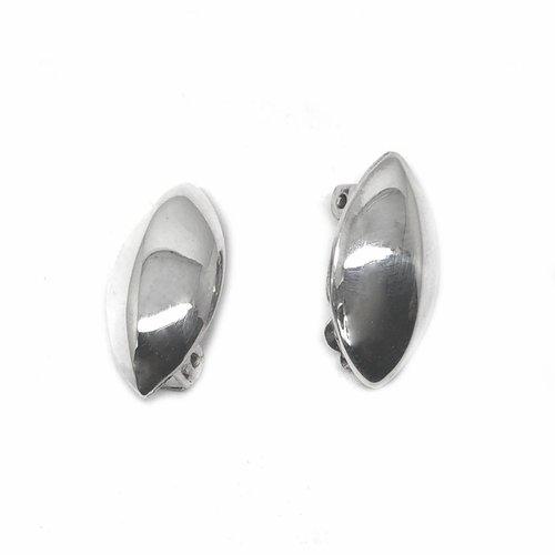 ZilverVoorJou Zilveren clip-on ovale oorbellen