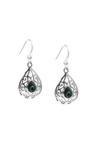 Zilveren druppel abalone paua oorhangers