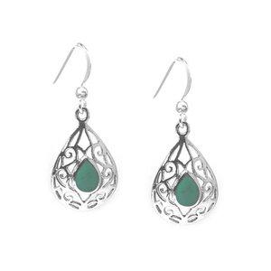 ZilverVoorJou Zilveren druppel turkoois groen oorbellen