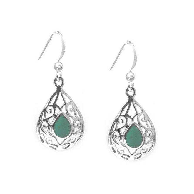 Zilveren druppel turkoois groen oorbellen