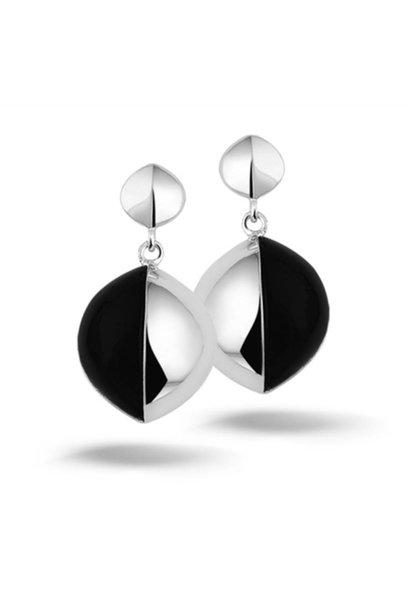 Zilveren oorstekers zwarte steen New Bling