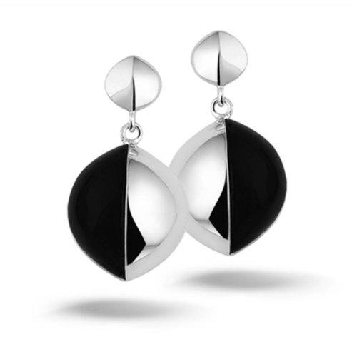 New Bling Zilveren oorstekers zwarte steen New Bling