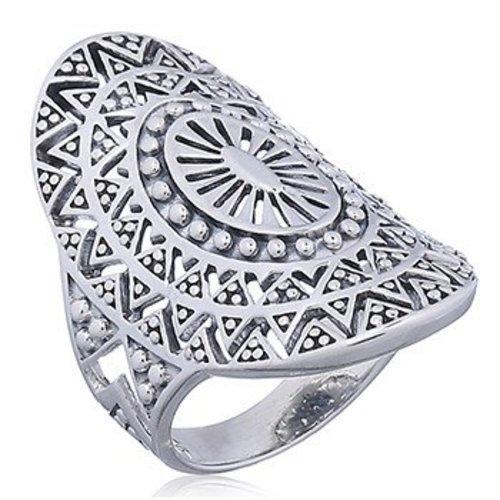 ZilverVoorJou Zilveren Mandala zon ring