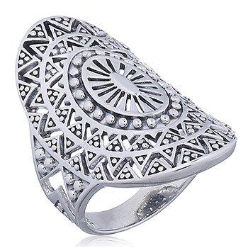 Zilveren mandala zon ring-1