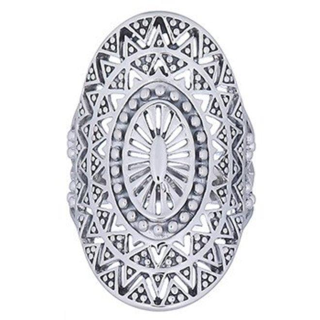 Zilveren mandala zon ring