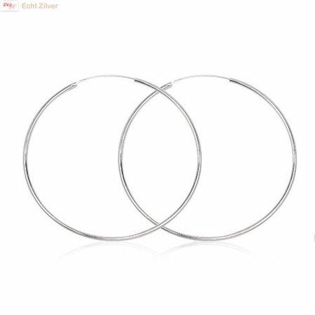 ZilverVoorJou Zilveren creolen oorringen groot 60 mm 1.5 mm breed