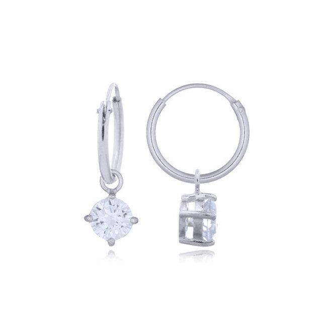 Zilveren kleine creolen witte zirkoon hangertje