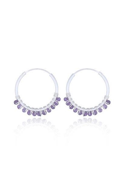 Zilveren oorringen paarse amethist edelsteentjes
