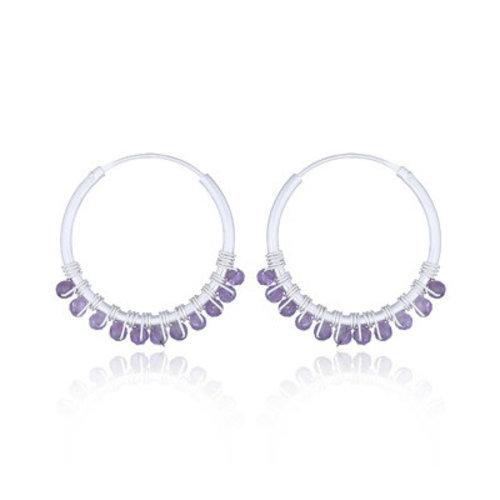 ZilverVoorJou Zilveren oorringen paarse amethist edelsteentjes
