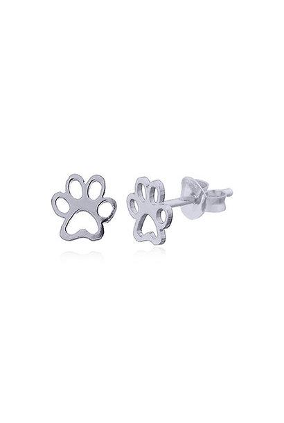 Zilveren mini pootafdruk poes hond oorstekers