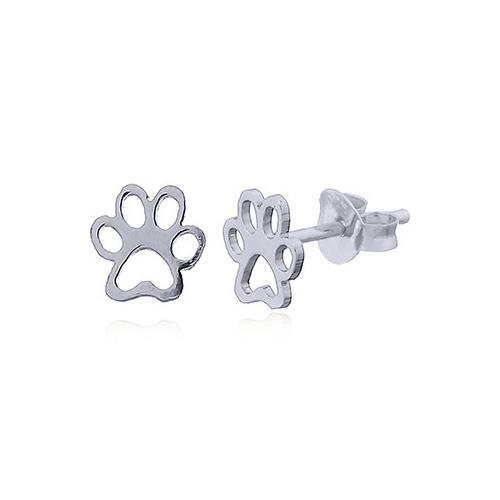 Zilveren mini pootafdruk poes hond oorstekers-1