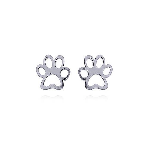 Zilveren mini pootafdruk poes hond oorstekers-3