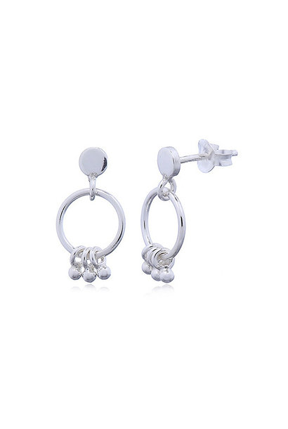 Zilveren oorstekers ringetjes kleine balletjes