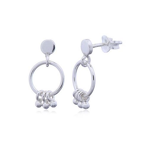 Zilveren oorstekers met ringetjes en kleine balletjes-1