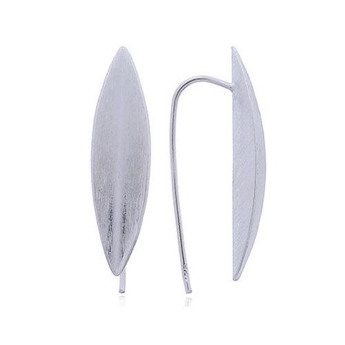 ZilverVoorJou Mat zilveren ovale punt oorhangers