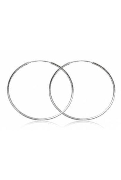 Zilveren creolen oorringen groot 60 mm 1.5 mm vierkante buis