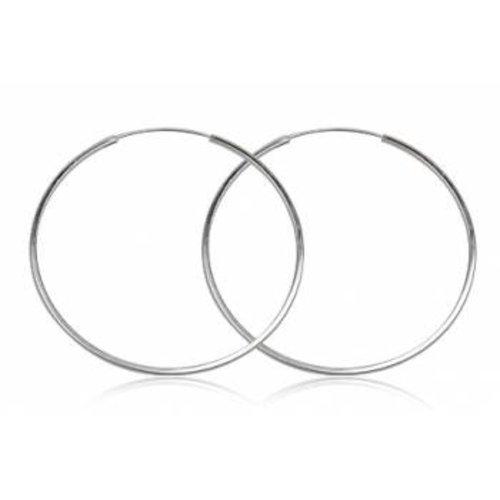 ZilverVoorJou Zilveren creolen oorringen groot 60 mm 1.5 mm vierkante buis