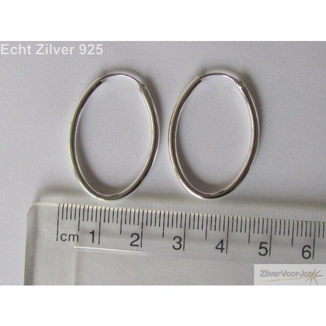 Zilveren ovale creolen oorringen 30 x 21 mm