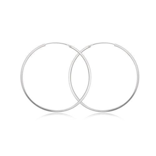 ZilverVoorJou Zilveren grote oorringen 60 mm 2 mm vierkante buis