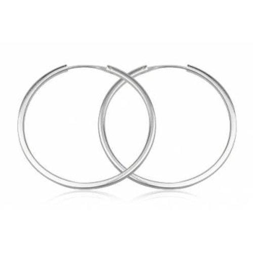 ZilverVoorJou Zilveren grote oorringen 60 mm 3 mm vierkante buis