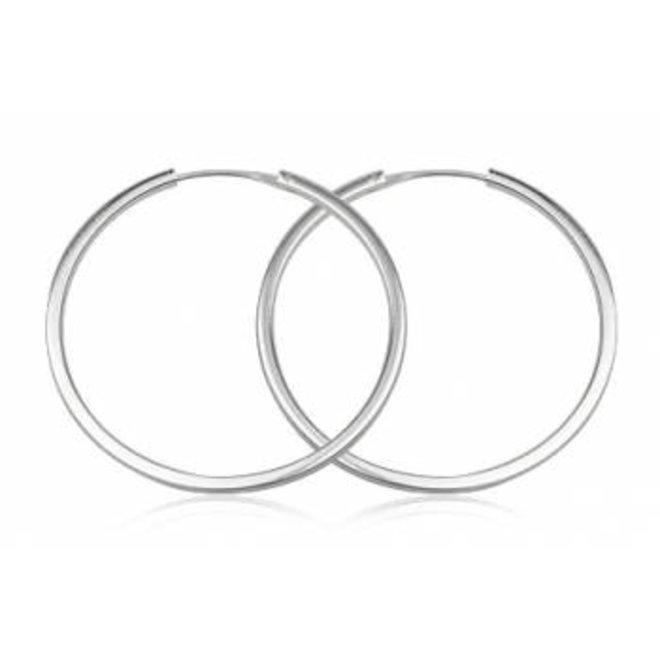 Zilveren grote oorringen 60 mm 3 mm vierkante buis