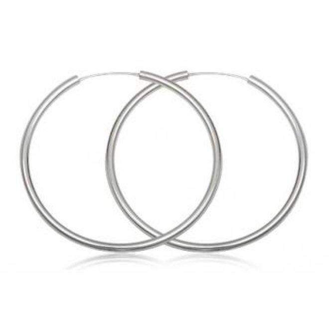 Zilveren grote oorringen 70 mm 3 mm ronde buis