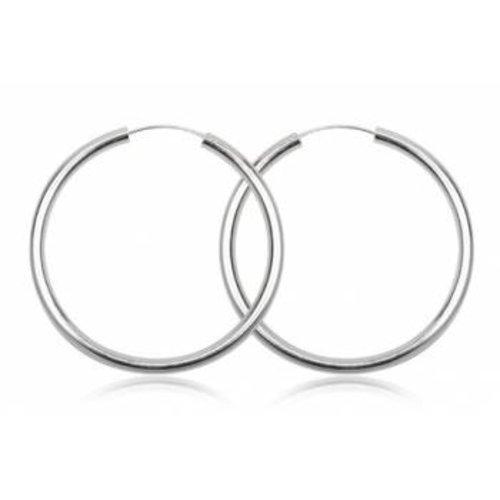ZilverVoorJou Zilveren grote oorringen 60 mm 4 mm ronde buis