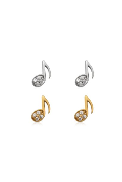 Zilver en goud 2 paar mini muzieknoot oorstekers