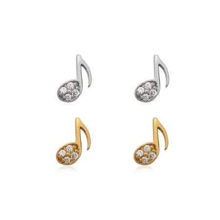 ZilverVoorJou Zilver en goud 2 paar mini muzieknoot oorstekers
