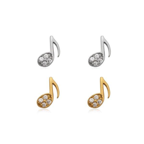 Zilveren en verguld paar mini muzieknoot oorstekers met witte zirkoon
