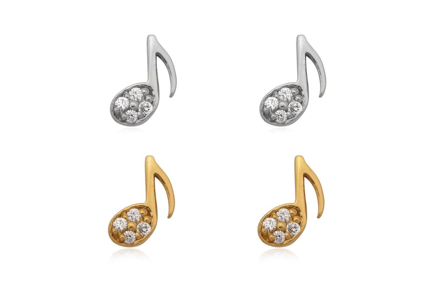 Zilveren en verguld paar mini muzieknoot oorstekers met witte zirkoon-1