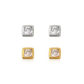 ZilverVoorJou Zilver en goud 2 paar mini square zirkonia oorstekers