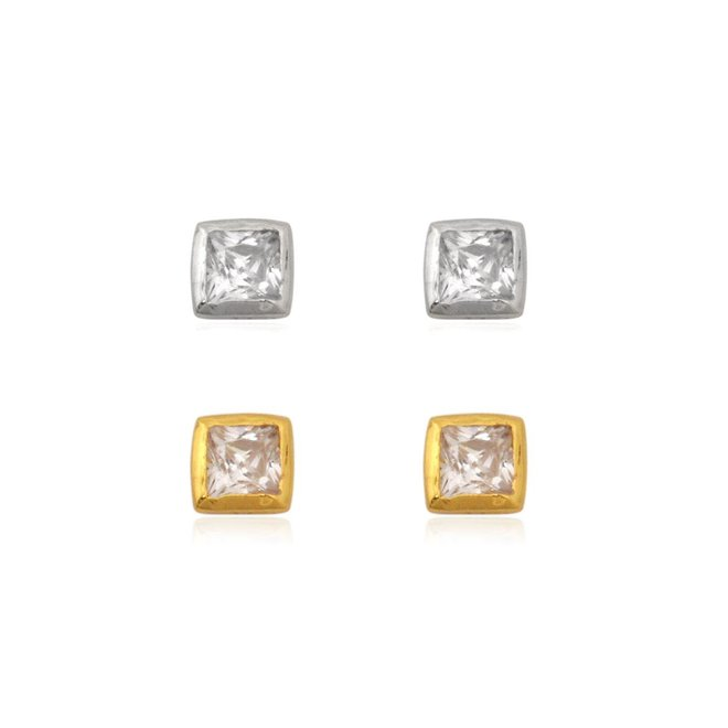 Zilver en goud 2 paar mini square zirkonia oorstekers