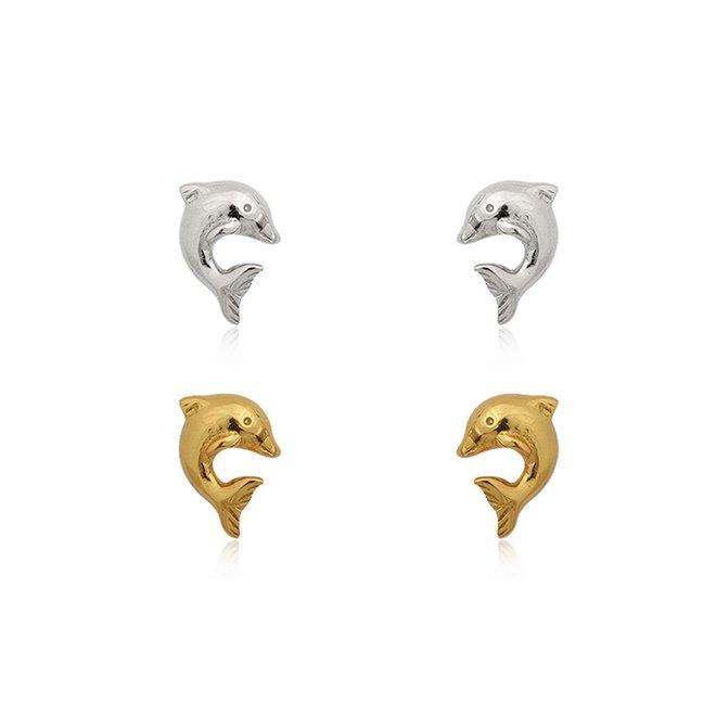 Zilver en vermeil goud 2 paar dolfijn oorstekers
