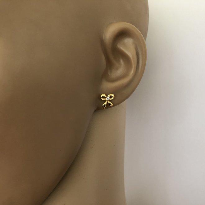 Zilver en goud 2 paar strikje oorstekers