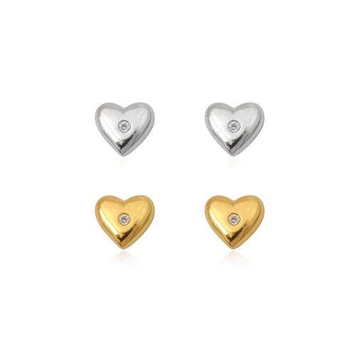 ZilverVoorJou Zilver en goud 2 paar hartjes oorstekers