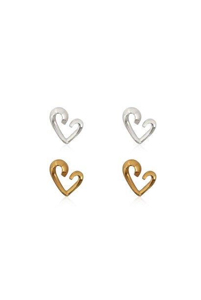 Zilver en goud 2 paar design hartje oorstekers