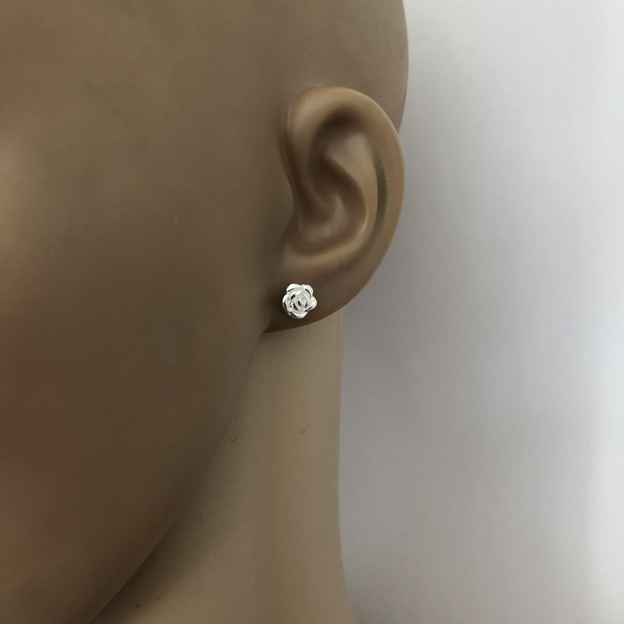 Zilver en goud op zilver setje roos oorknopjes-2