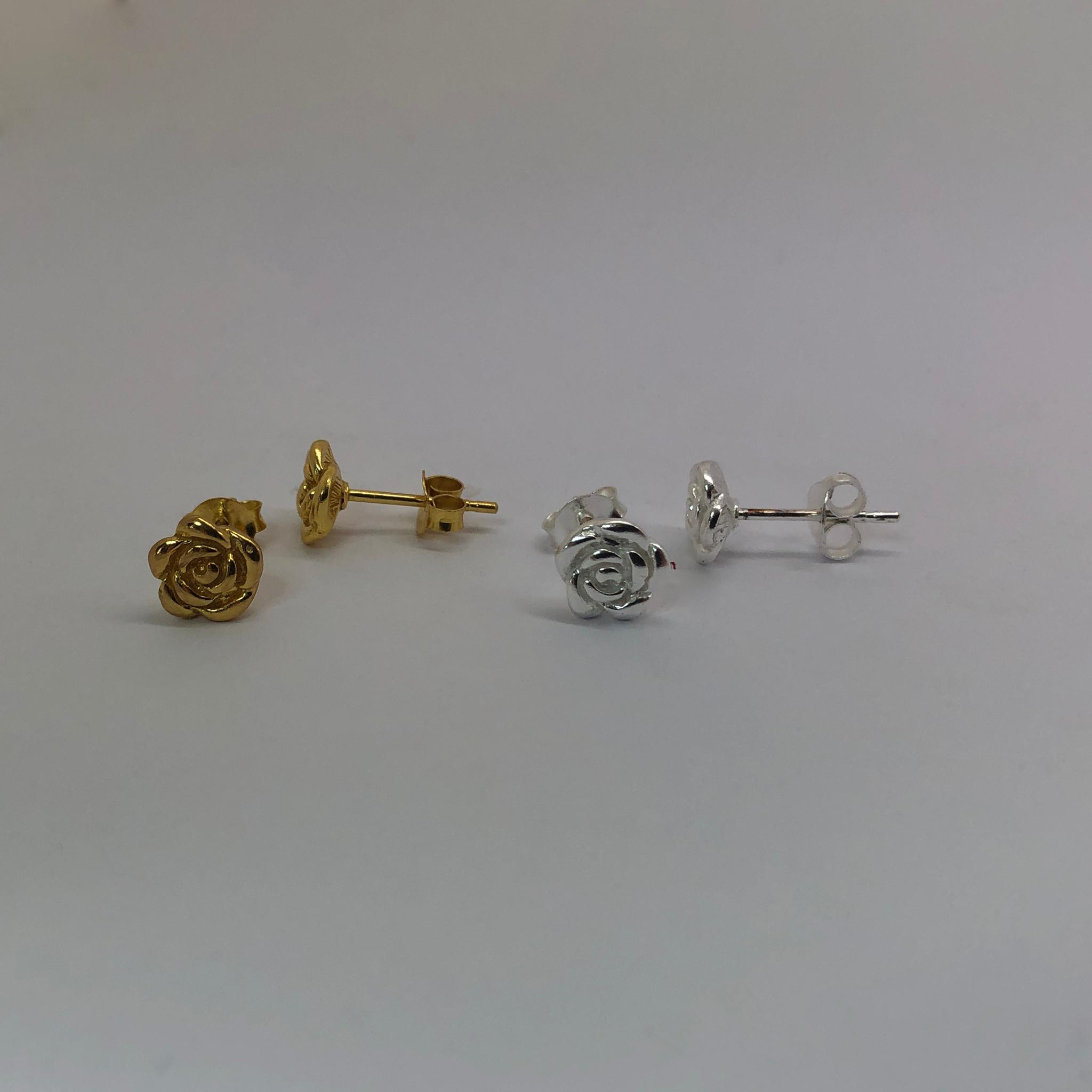 Zilver en goud op zilver setje roos oorknopjes-4