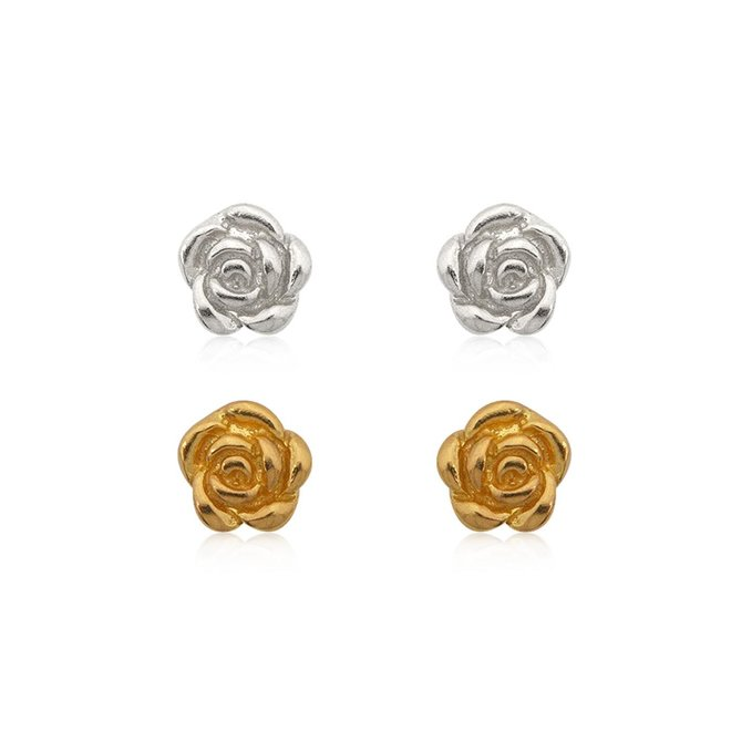 Zilver en goud op zilver setje roos oorknopjes