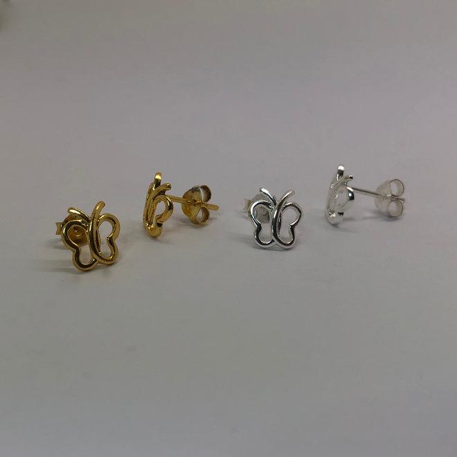 Zilver en goud op zilver setje vlinder oorstekers