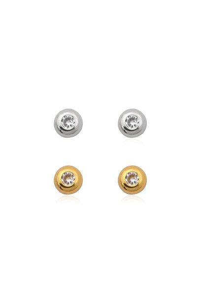 Zilver en goud 2 paar oorknopjes witte zirkoon