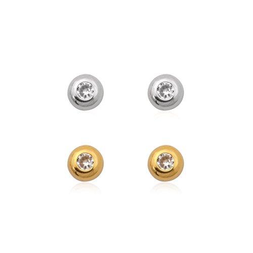 ZilverVoorJou Zilver en goud op zilver setje oorknopjes witte zirkoon